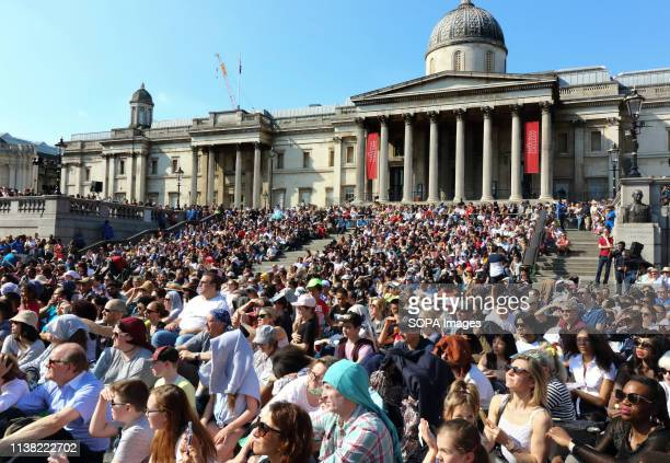 Huge crowd in front of the National Gallery during a performance of 'The Passion of Jesus' by Wintershall players in Trafalgar Square Around 20000...