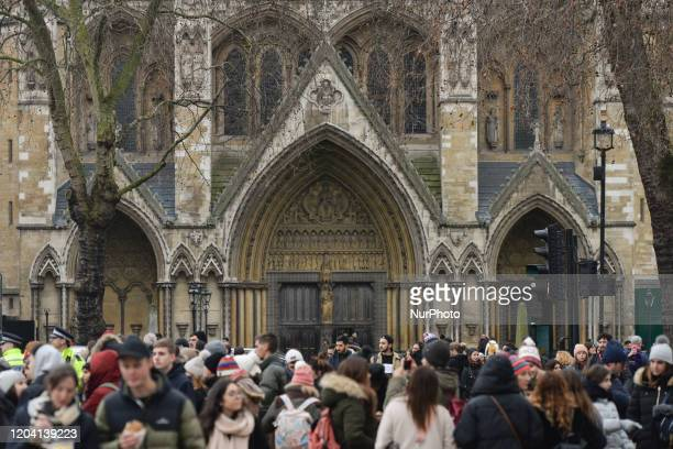 A huge crowd in front of Westminster Abbey in London On Saturday 25 January 2020 in London United Kingdom