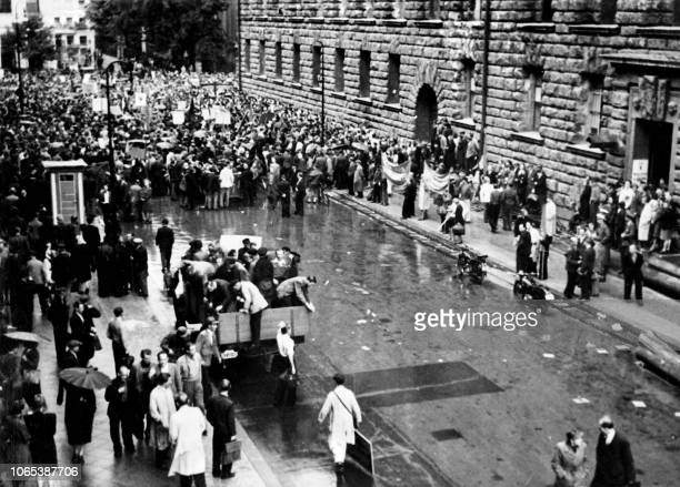Huge crowd of about 250,000 people are gathered in the streets of Berlin, on August 26, 1948 to demonstrate against the Berlin blockade. - The Soviet...