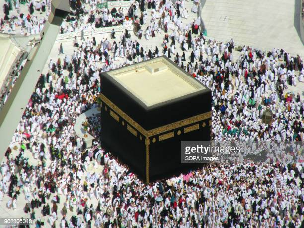 Huge crowd of Muslim pilgrims seen gathering around the most holiest shrine in Muslim religion call Kaaba at the Grand Mosque in Mecca