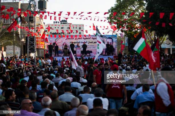 A huge crowd of Palestinian supporters is seen during the rally Rally by Palestinian supporters of the Popular Front for the Liberation of Palestine...
