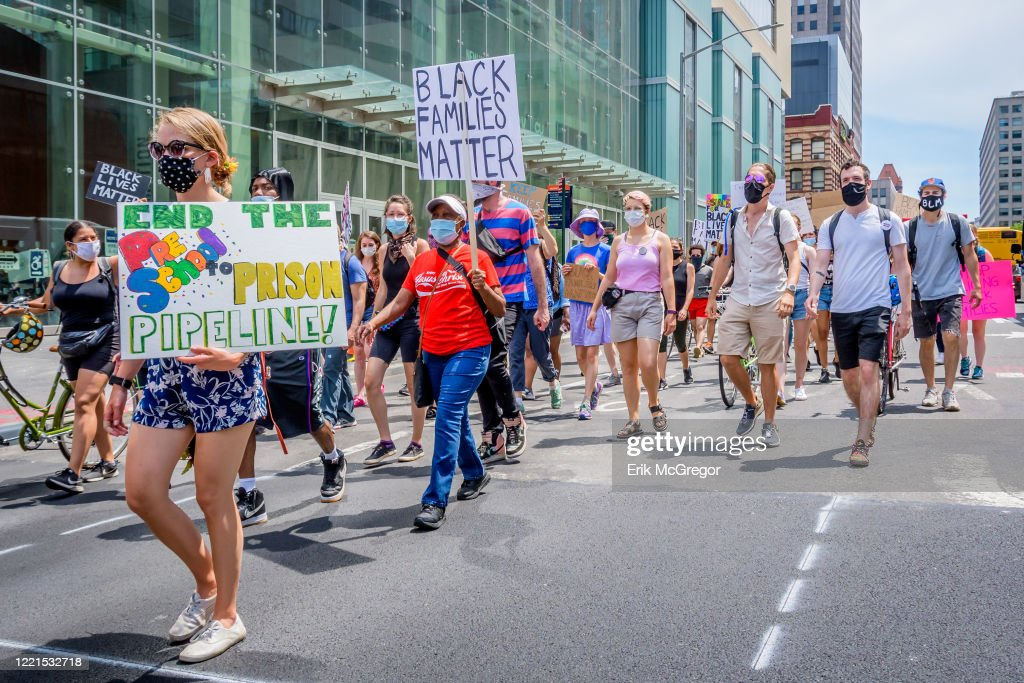 A huge crowd of protesters marching in support of Black... : News Photo