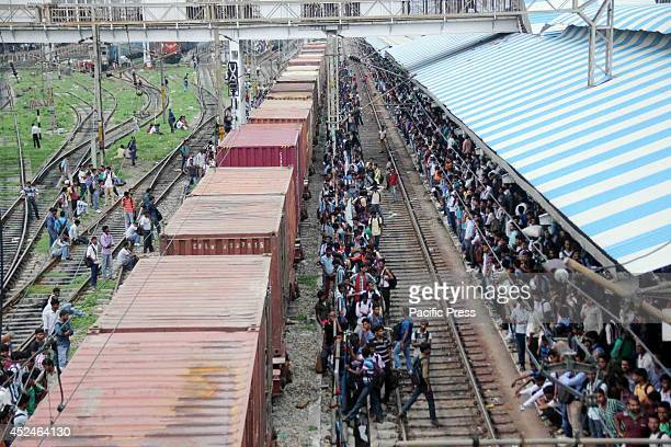 A huge crowd of students wait for the train after taking RRB exam at Allahabad Railway station in Allahabad Indian Railways is one of the world's...