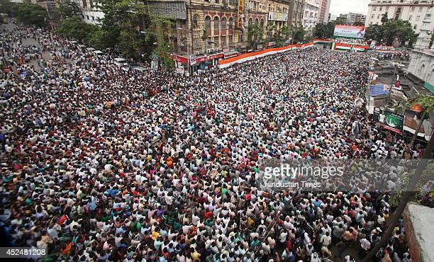 Huge crowd of Trinamool Congress supporters during Shaheed Diwas rally organized by the party at Esplanade on July 21 2014 in Kolkata India The...