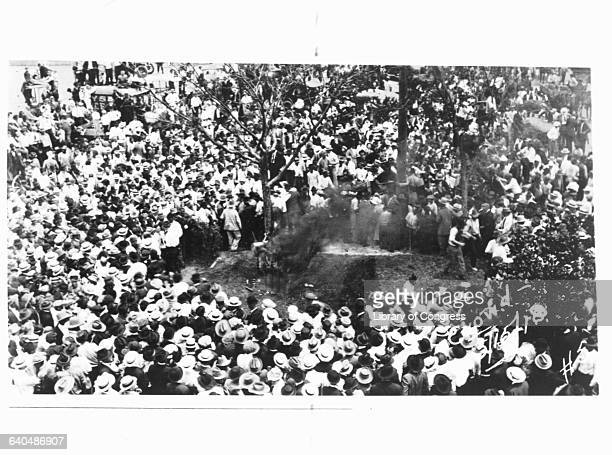 Huge crowd surrounds the the burning body of an African American man tied to a tree trunk, with black smoke rising from his body.