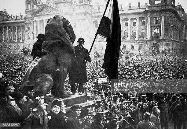 A huge crowd turns out in a public square in Budapest for the proclamation of a new Bolshevik government in Hungary on March 21 1919 The new system...