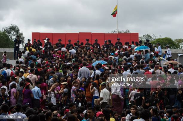 A huge crowd visit the Martyr's Mausoleum in Yangon as Myanmar marks the 71th anniversary of Martyrs' Day on July 19 2018 following official ceremony...