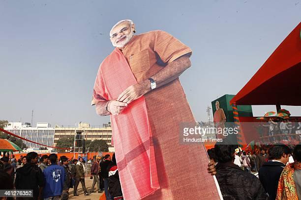 A huge cut out of Modi before the 'Abhinandan rally' of Prime Minister Narendra Modi at Ramlila Maidan on January 10 2015 in New Delhi India Modi...