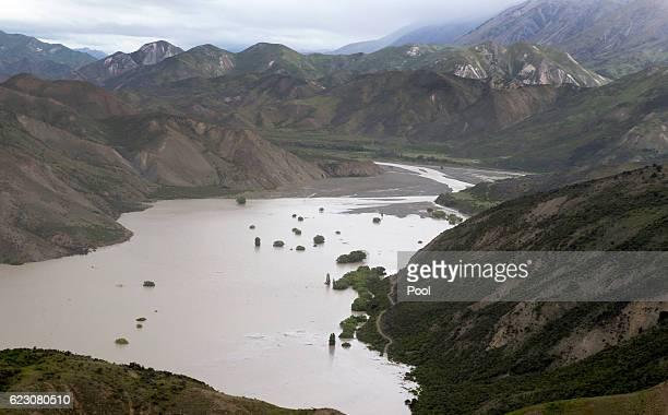 A huge dam formed by a landslide as a result of the 75 earthquake on the Clarence River north of Kaikoura on November 14 2016 in New Zealand The 75...
