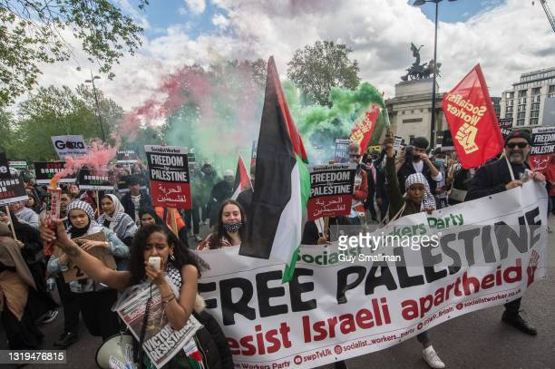 Huge demonstration of tens of thousands of people marches from the Embankment to Hyde park in solidarity with the Palestinian people on May 22, 2021...