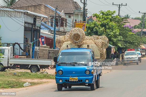 huge empty baskets on back of truck in vientiane, laos - laotian culture stock pictures, royalty-free photos & images