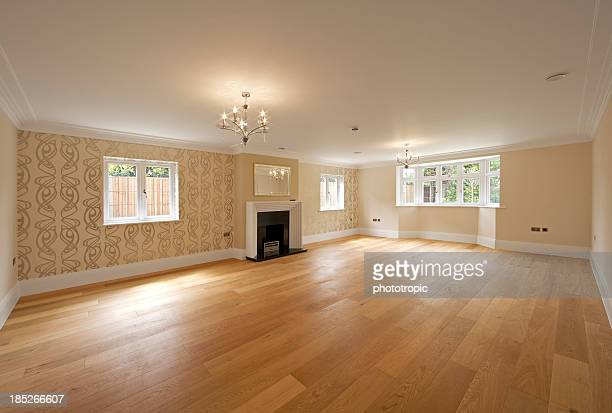 huge empty reception room - floorboard stock photos and pictures