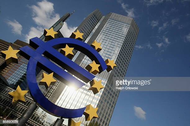 Huge euro logo stands in front of the headquarters of the European Central Bank on April 9, 2009 in Frankfurt am Main, Germany. The city of...