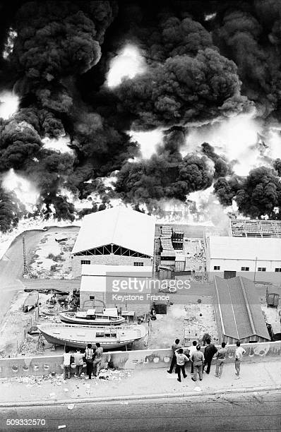 Huge Fire Of Oil Tanks On The Harbour Of Oran Activated By the OAS Secret Army Organization Oran in Oran Algeria on June 25 1962