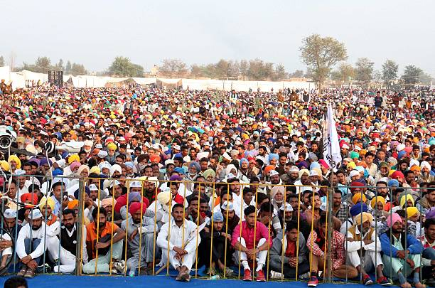 Huge gathering during a rally at Kolianwali village of Lambi Assembly segment on December 28 2016 in Muktsar India Delhi Chief Minister Arvind...