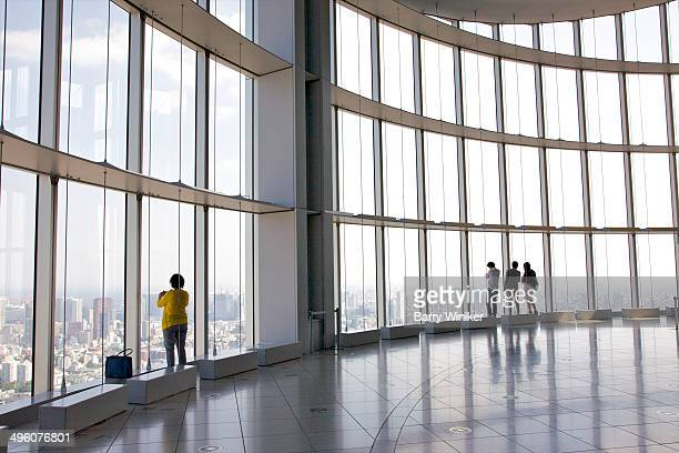 Huge glass windows in city observatory