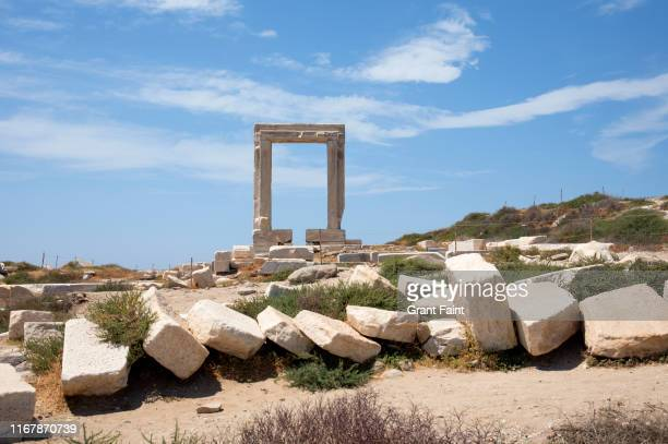 huge greek ruins looks like window. - colonnade stock pictures, royalty-free photos & images