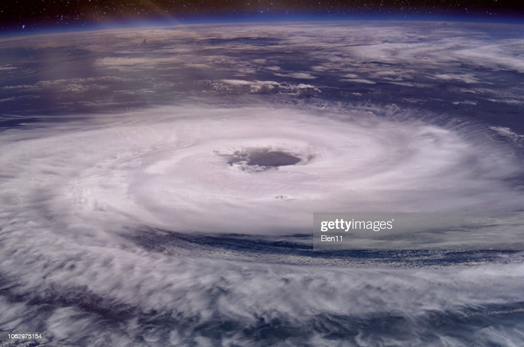 Huge hurricane eye. Elements of this image furnished by NASA. 2018. : Stock Photo