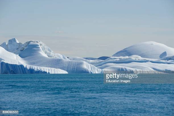 Huge icebergs off the coast of Ilulissat The icebergs are coming from the glacier Sermeq Kujalleq a UNESCO world heritage site producing 10% of all...