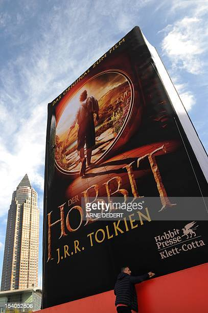 A huge inflatable book titled 'The Hobbit' by JRR Tolkien is set up near the fair ground hosting the book fair in Frankfurt Main western Germany on...