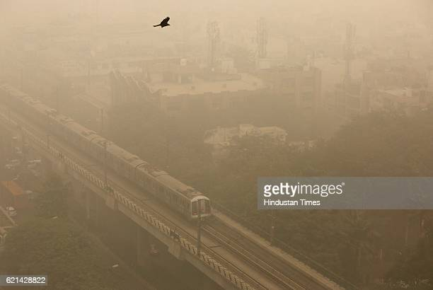 Huge layer of smog covered city due to increase in pollution on November 6 2016 in New Delhi India New Delhi's air quality has steadily worsened over...