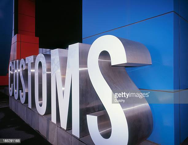 a huge letter ensemble for customs - transportation building type of building stock photos and pictures