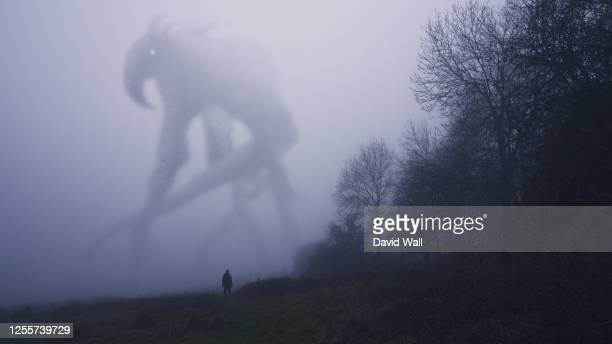 a huge monster appearing out the fog on a winters day. with a lone figure looking up. - danger stock pictures, royalty-free photos & images