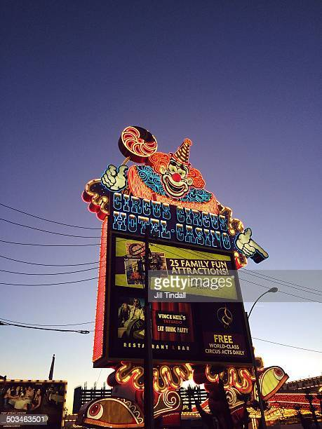 Huge neon clown sign on roadside outside Circus Circus hotel and casino Las Vegas Nevada