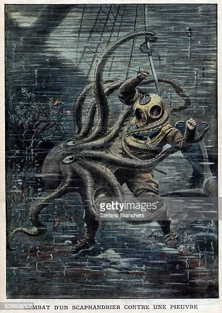 A huge octopus nearly succeeds in overcoming American diver Martin Lund from French newspaper Le Petit Journal 1909