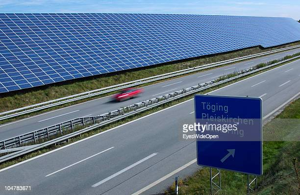 A huge photovoltaics solar cell area is pictured while under construction on October 3 2010 in Toeging Germany