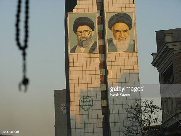 Huge pictures of Ayatollah Khomeini and Ayatollah Ali Khamenei painted on the wall of a government building in Fatemi square in Tehran Iran 29th...