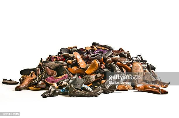 huge pile of new shoes - heap stock pictures, royalty-free photos & images