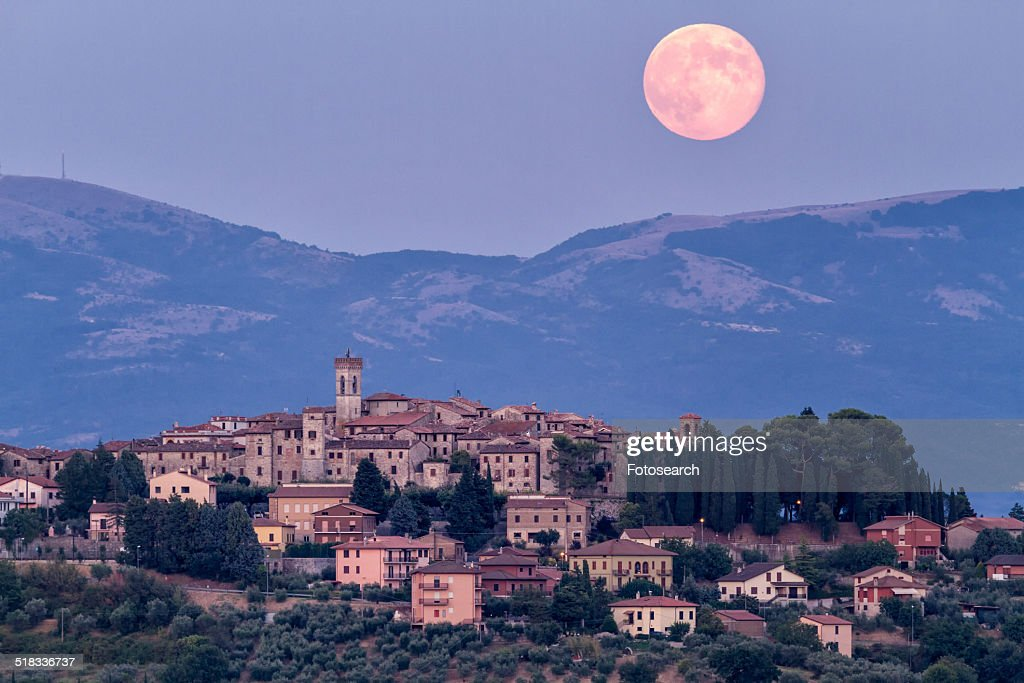 Huge pink full moon : Stock Photo