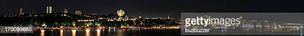 huge quebec city panorama at night - river st lawrence stock pictures, royalty-free photos & images