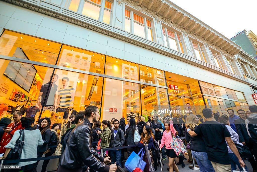 huge queue at uniqlo store san francisco stock photo