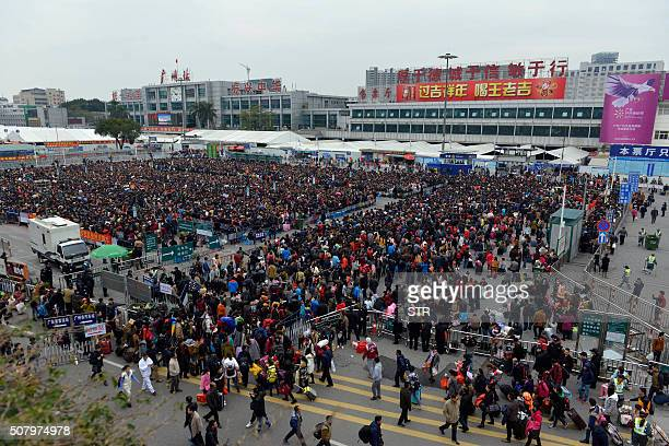 Huge queues outside Guangzhou railway station in Guangzhou in southern China's Guangdong province on February 2 2016 Tens of thousands of Lunar New...