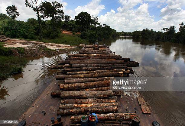 A huge raft is loaded with confiscated wood in the Moju river in Tailandia Para in northern Brazil on February 27 to be taken to Belen the state...