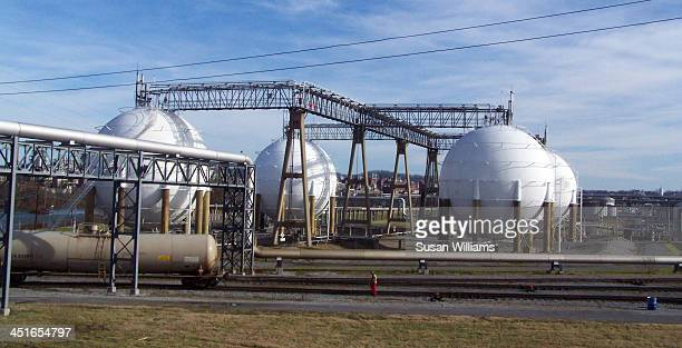 CONTENT] Huge round storage tanks at Tennessee Eastman Company