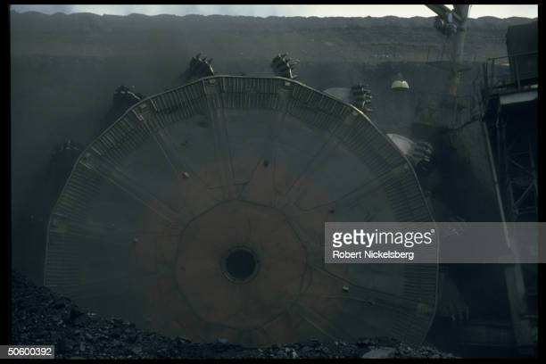 Huge Russian electric bucket wheel excavator at 1 of world's largest open pit coal mining ops extracting 200000 tons per day in Central Steppes...