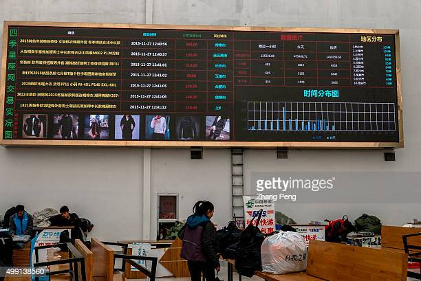 Huge screen shows the realtime transaction information in the service center on the first floor An ecommerce base in Hangzhou where wholesalers...