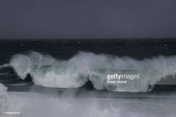 Huge seas at Maroubra in Sydney's South on June 04 2019 in Sydney Australia The Bureau of Meteorology issued a severe weather warning on Monday for...