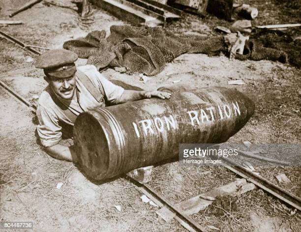 A huge shell weighing 1400lb Somme campaign France World War I 1916 Ready to be fired by the 15inch howitzer or 'Grandmother' as it was called Notice...