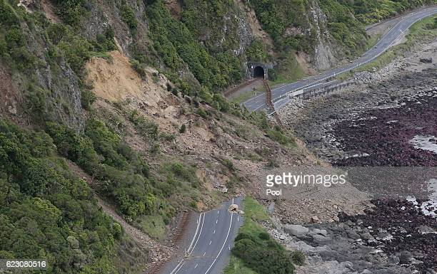 Huge slips caused by the 75 earthquake are seen blocking State Highway One north of Kaikoura on November 14 2016 in New Zealand The 75 magnitude...