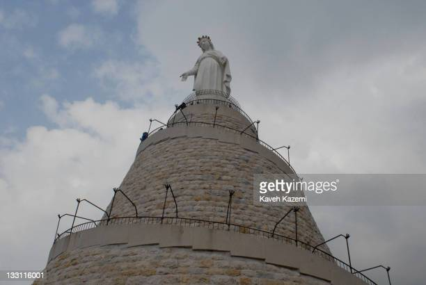 Huge statue of the Virgin Mary stands high on hilltops in Harissa, Lebanon, 13th December 2008. Harissa is an important Lebanese pilgrimage site high...