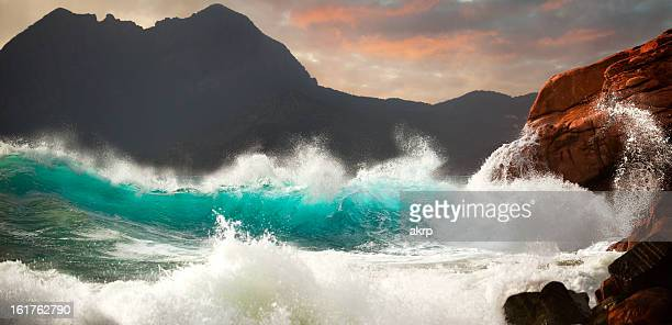 huge storm surf - rocky coastline stock pictures, royalty-free photos & images