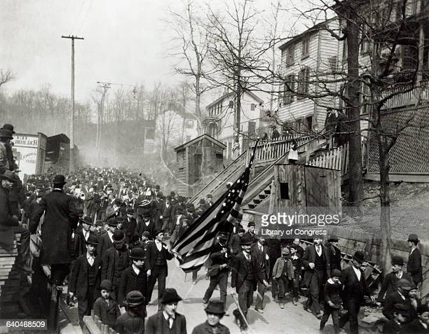 A huge throng of 'General' Jacob S Coxey's unemployed workers marches through a town on the way to Washington DC Jacob S Coxey is a former quarry...