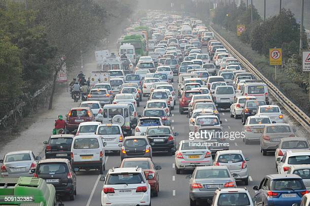 Huge traffic jam was witnessed by motorists after coming from Auto Expo venue near Sector 125 on NoidaGreater Noida Expressway on February 8 2016 in...