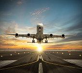 Huge two storeys commercial jetliner taking of runway.