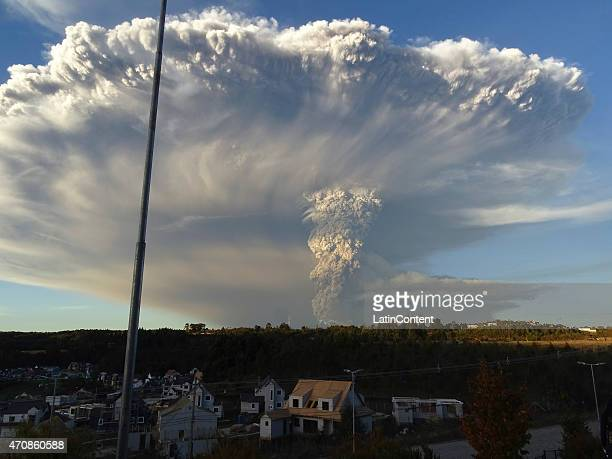 Huge volcanic ash cloud is seen after the eruption of Calbuco volcano, 2015 near Puerto Montt in the Llanquihue Region, Chile. The volcano,...