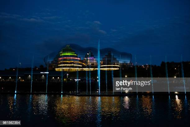 Huge water fountain art installation is displayed the opening ceremony of the Great Exhibition of the North to an end on June 22, 2018 in Newcastle...